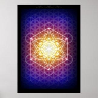 El cubo/la flor de Metatron del poster de la vida Póster