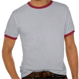 El cuello en v negro de las mujeres con grito rojo camisetas