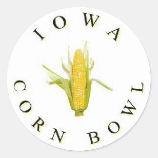 El cuenco del maíz de Iowa Pegatinas Redondas