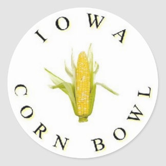 El cuenco del maíz de Iowa Pegatina Redonda