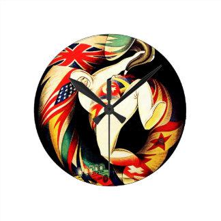 El cuerno del hombre del vintage señala arte itali reloj de pared