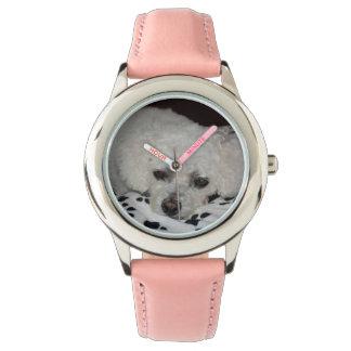El cuero blanco del rosa del perro embroma el relojes