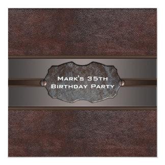 El cuero de Brown sirve a la 35ta fiesta de Invitación 13,3 Cm X 13,3cm