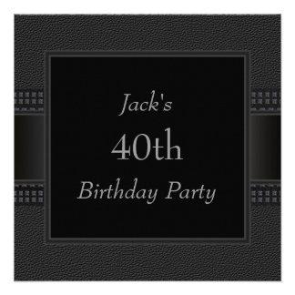 El cuero negro sirve a la 40 a fiesta de cumpleaño anuncio personalizado