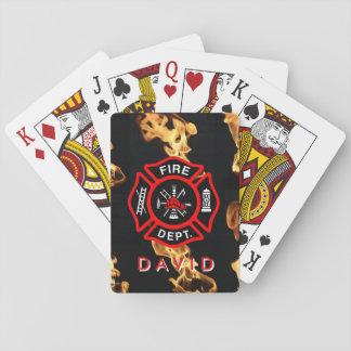 El cuerpo de bomberos del bombero flamea el nombre barajas de cartas