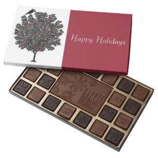 El cuervo adorna el árbol de navidad caja de bombones variados con 45 piezas