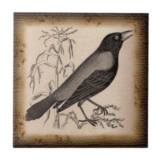 El cuervo azulejo ceramica