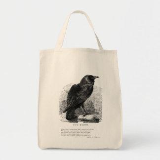 El cuervo de Edgar Allen Poe Bolsa Tela Para La Compra