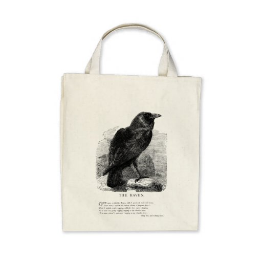 El cuervo de Edgar Allen Poe Bolsas Lienzo