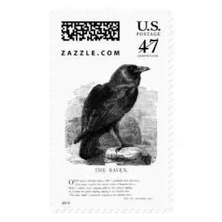 El cuervo de Edgar Allen Poe Estampilla