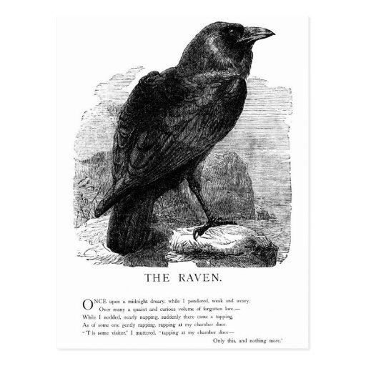 El cuervo de Edgar Allen Poe Postales