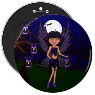 El cuervo gótico del Faery de Halloween santifica  Pin Redondo De 6 Pulgadas