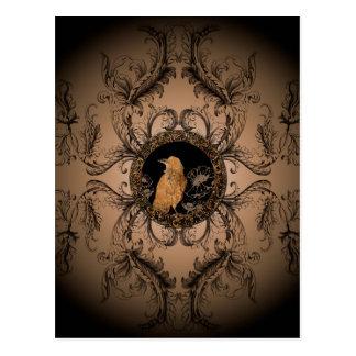 El cuervo hecho del metal oxidado postales