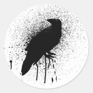 El cuervo negro etiqueta redonda