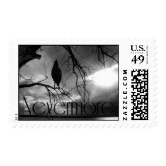 El cuervo - nunca más árbol B&W de los rayos de Sellos Postales