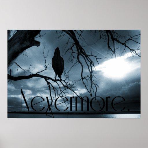 El cuervo - nunca más rayos de sol y azul del árbo póster