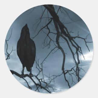 El cuervo - nunca más rayos de sol y azul del pegatina redonda