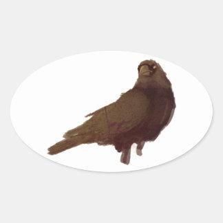 El cuervo pegatina ovalada