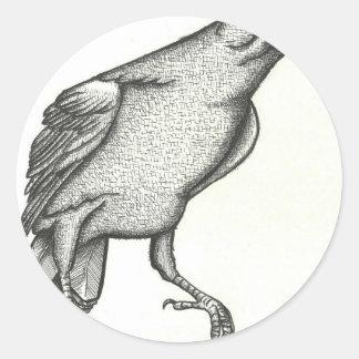 El cuervo pegatina redonda