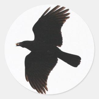 El cuervo por el Poe Pegatina Redonda