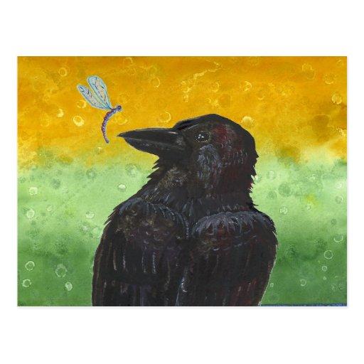 El cuervo reflexiona tarjeta postal