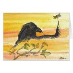 El cuervo resuelve la libélula felicitación