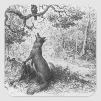 El cuervo y el Fox Pegatina Cuadrada