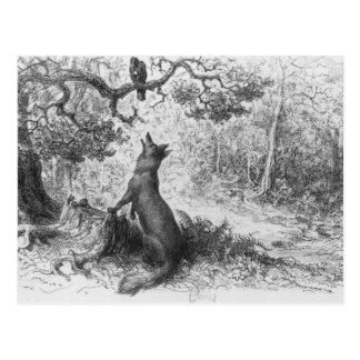 El cuervo y el Fox Tarjeta Postal