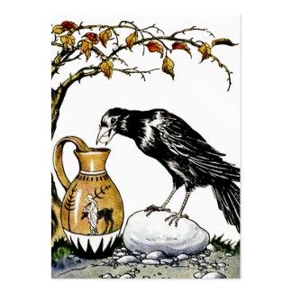 El cuervo y la tarjeta del perfil de la jarra tarjetas de visita grandes