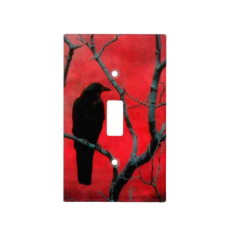 El cuervo y las ramas placas para interruptor