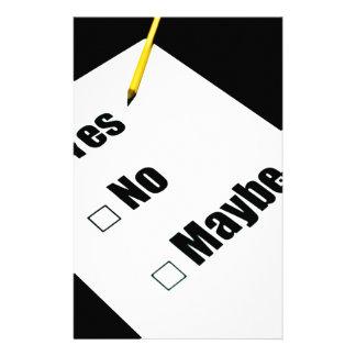 El cuestionario de papel ningún dibuja a lápiz sí papeleria de diseño