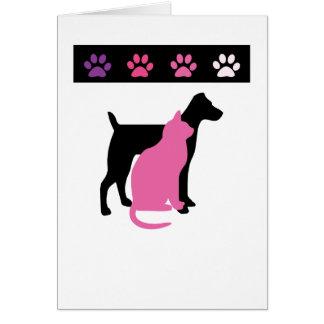 El cuidado de animales de compañía le agradece las tarjeta de felicitación