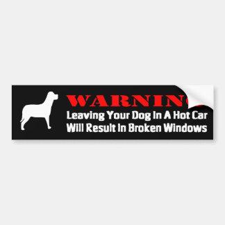 El cuidado dejando el perro en ventanillas del coc pegatina de parachoque