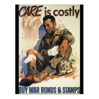 El cuidado es la guerra mundial costosa 2 tarjetas postales