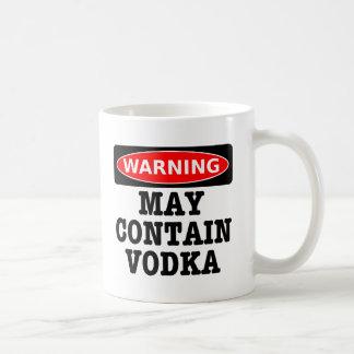 El cuidado puede contener la vodka taza básica blanca
