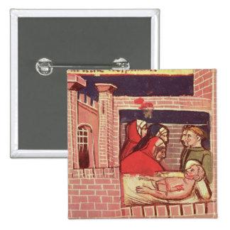 El cuidar para un hombre herido en un castillo pin cuadrada 5 cm