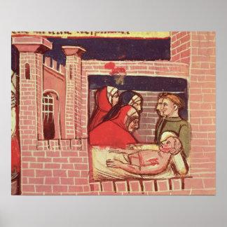 El cuidar para un hombre herido en un castillo póster