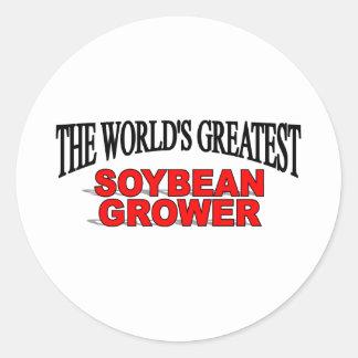 El cultivador más grande de la soja del mundo pegatina redonda