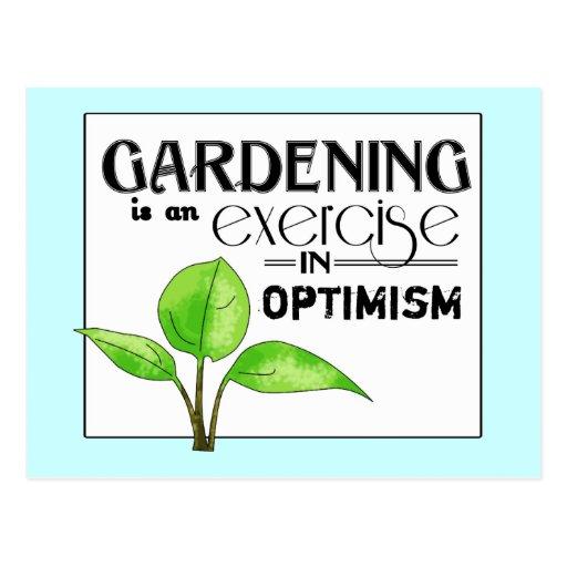 El cultivar un huerto es un ejercicio en optimismo tarjeta postal