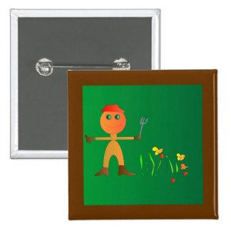 El cultivar un huerto para el botón de los niños d pin cuadrado