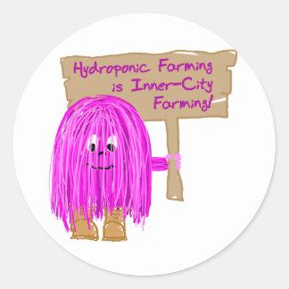 el cultivo hidropónico es cultivo del centro pegatina redonda