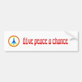 el culture_peace_sign, da a paz una oportunidad pegatina para auto