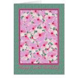 El cumpleaños, 90.o, hibisco rosado florece la tar tarjetas