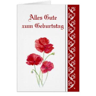 El cumpleaños, amapolas rojas, jardín florece al a felicitacion