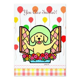 El cumpleaños amarillo de Labrador invita (la Invitación 12,7 X 17,8 Cm
