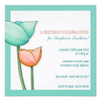 """El cumpleaños anaranjado del trullo simple de las invitación 5.25"""" x 5.25"""""""