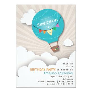 """El cumpleaños azul de los niños del globo y de las invitación 5"""" x 7"""""""