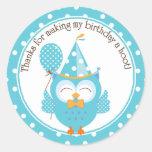El cumpleaños azul del búho le agradece etiquetas