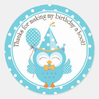 El cumpleaños azul del búho le agradece etiquetas redondas