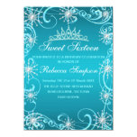 El cumpleaños azul del copo de nieve del reflejo invitacion personal